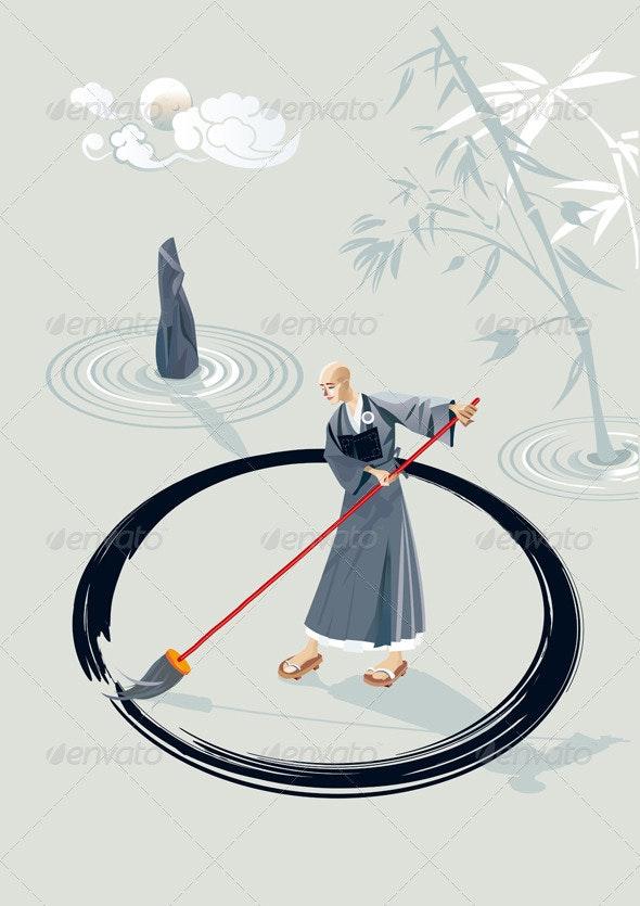 Zen Monk Painting A Circle - Religion Conceptual