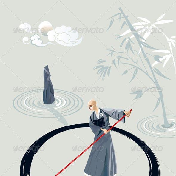Zen Monk Painting A Circle