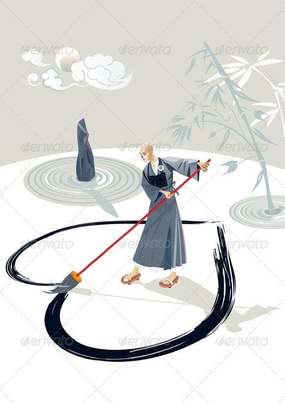 Zen Monk Painting A Heart - Religion Conceptual