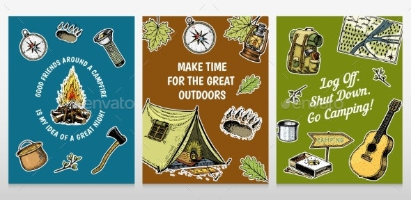 Set of Camping Cards - Miscellaneous Vectors