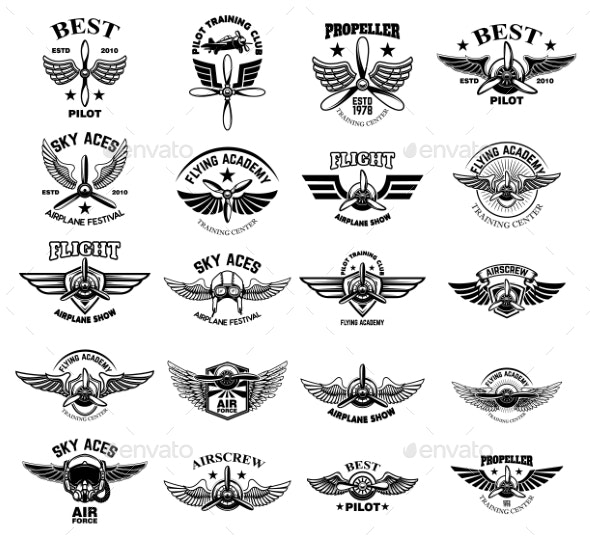 Set of Vintage Airplane Emblems - Man-made Objects Objects