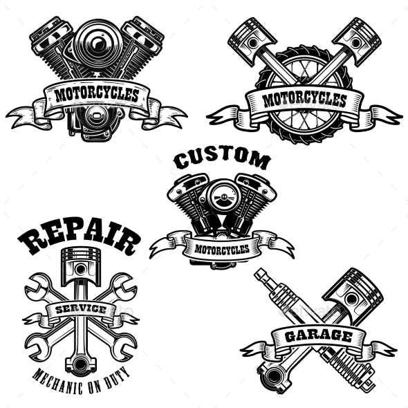 Set of Motorcycle Repair Emblems - Man-made Objects Objects