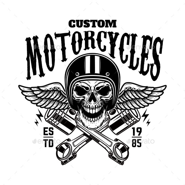 Custom Motorcycles Vintage Racer Skull in Winged - Miscellaneous Vectors