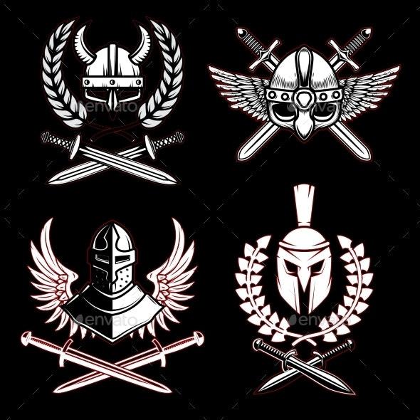Set of Emblems with Viking Ancient Weapon - Miscellaneous Vectors