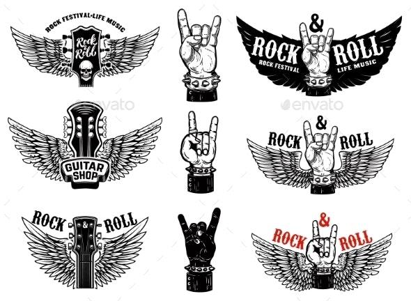 Set of Vintage Rock Music Fest Emblems - Miscellaneous Vectors