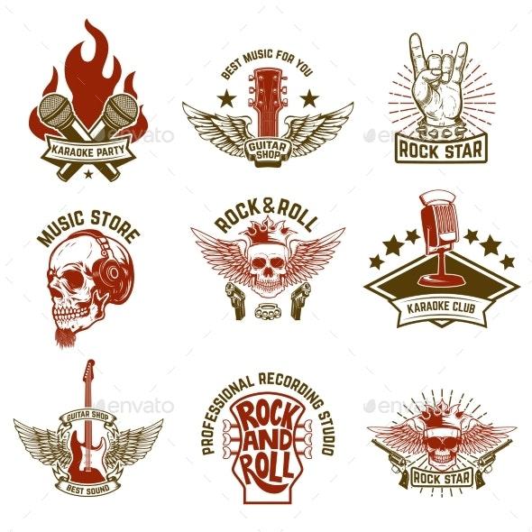 Set of Vintage Music Emblems - Miscellaneous Vectors