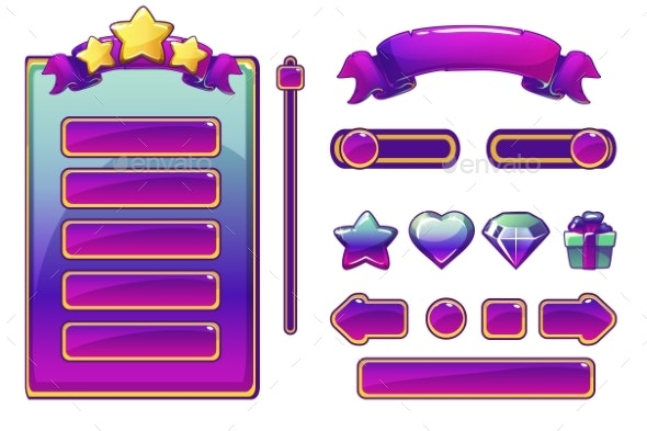 Cartoon Purple Assets and Buttons for UI Game - Miscellaneous Vectors