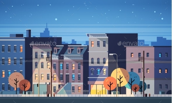City Building Houses Night View Skyline Background - Buildings Objects