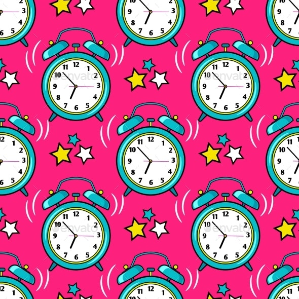 Bright Alarm Clock Seamless Pattern - Abstract Conceptual