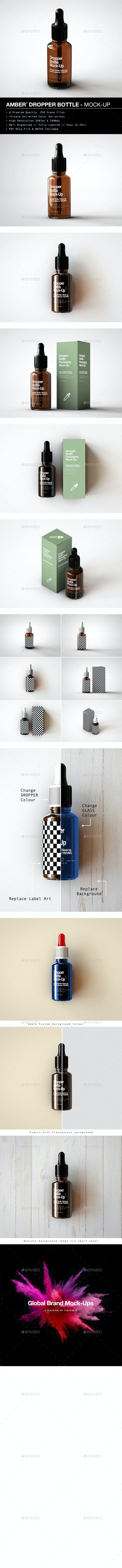 Amber Dropper Bottle With Box Mock-Up