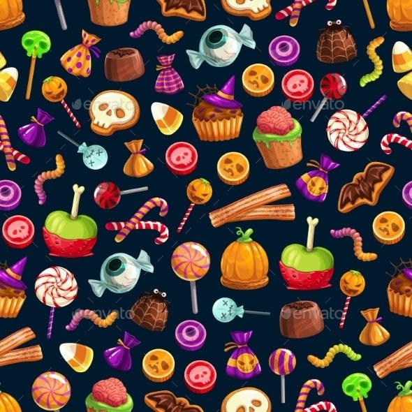 Sweet Halloween Treats Seamless Pattern - Halloween Seasons/Holidays
