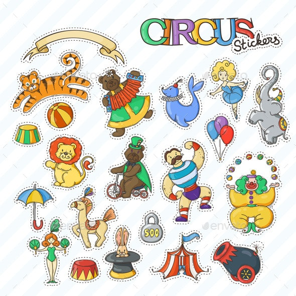 Circus Stickers - Animals Characters