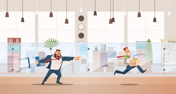 Dismissed, Loss Job. Vector Illustration. - People Characters