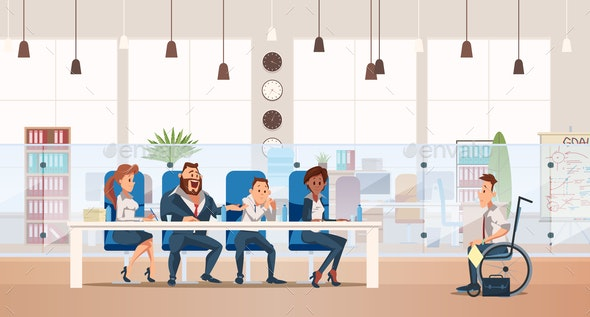 Job Interview and Recruiting. Vector Illustration. - People Characters