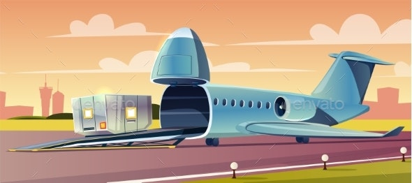 Loading Container on Cargo Airplane Cartoon Vector - Industries Business