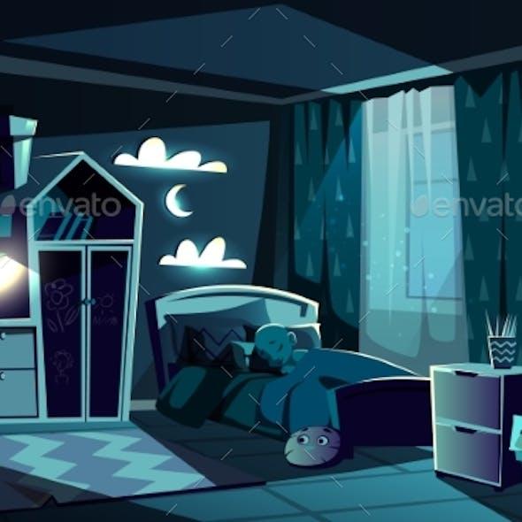 Child Sleeping in Bed in Bedroom Cartoon Vector