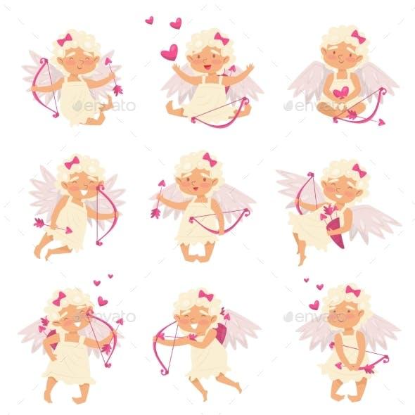 Flat Vector Set of Cupid