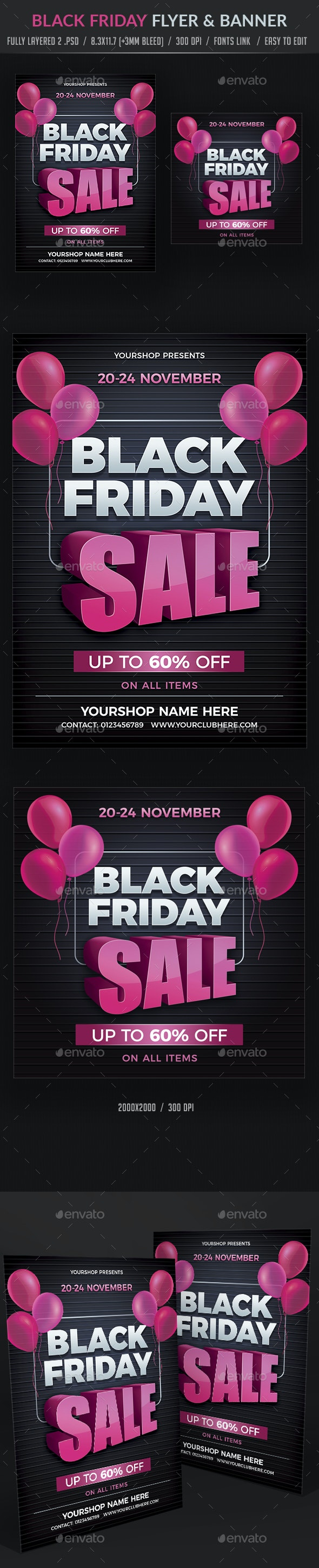 Black Friday Flyer and Banner - Flyers Print Templates