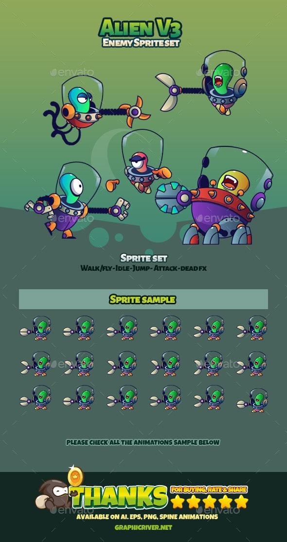 Alien V3 - Sprites Game Assets