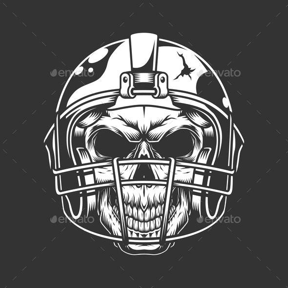 Vintage Football Skull - Sports/Activity Conceptual
