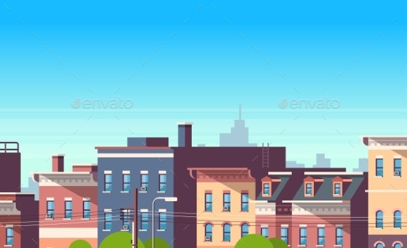 City Building Houses View Cityscape Background - Buildings Objects