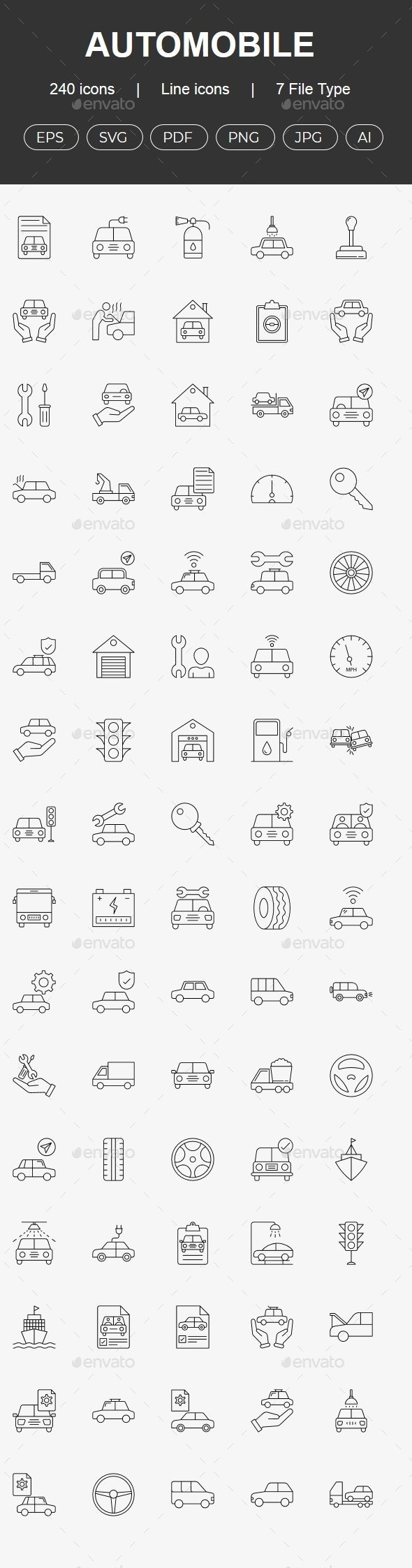 200+ Automobile and Transport line icons - Business Icons