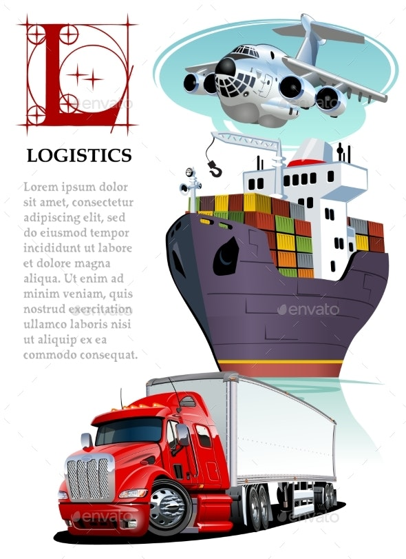 Vector Set of Cartoon Transport Logistics Mockup - Man-made Objects Objects