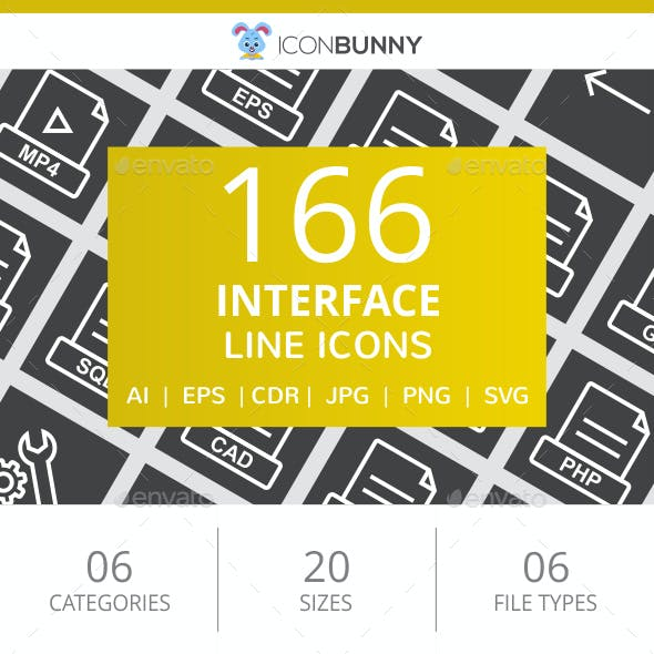 166 Interface Line Inverted Icons