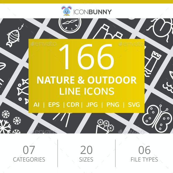 166 Nature & Outdoor Line Inverted Icons