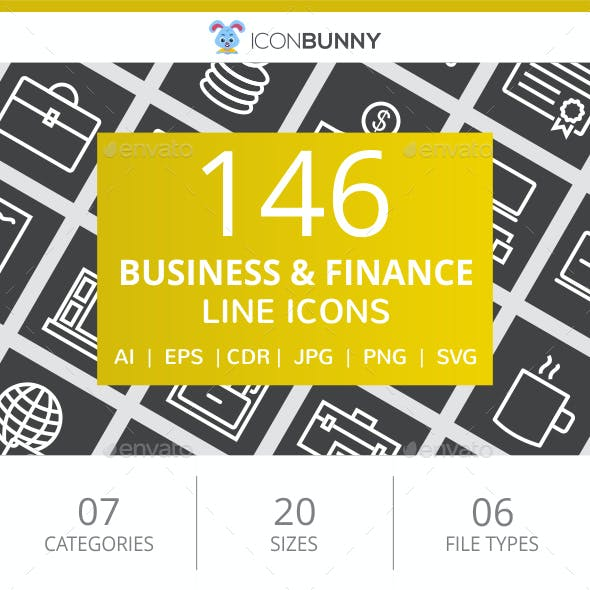 146 Business & Finance Line Inverted Icons