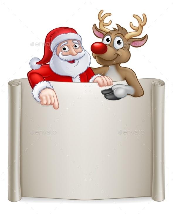 Christmas Santa Claus And Reindeer Cartoon Sign