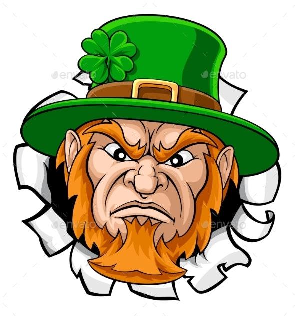 Leprechaun Mascot Cartoon Ripping Background - Miscellaneous Characters