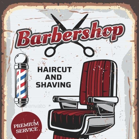 Barbershop Chair and Scissors
