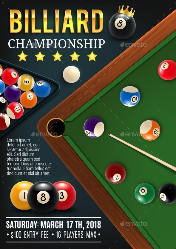 Billiards Table with Cue and Balls - Sports/Activity Conceptual