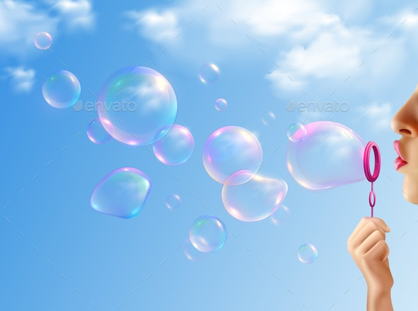 Soap Bubbles Realistic Background - People Characters
