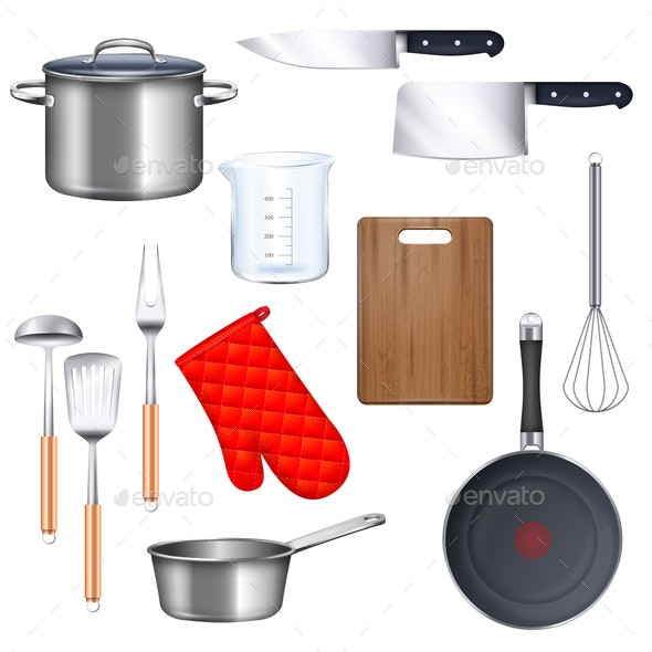 Kitchen Utensils Icons Set - Food Objects