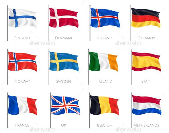 Flags Realistic Set - Miscellaneous Vectors
