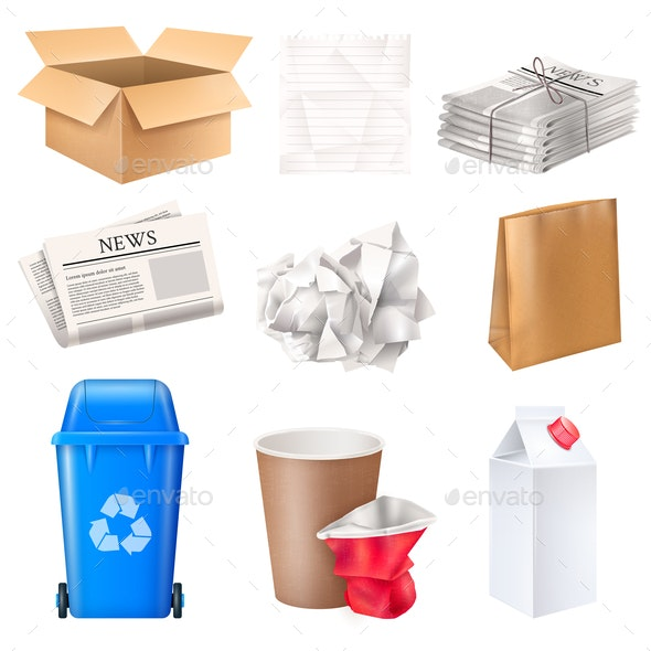 Trash and Waste Set - Industries Business
