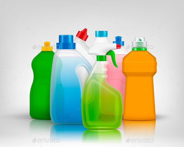 Colourful Detergent Bottles Composition - Abstract Conceptual