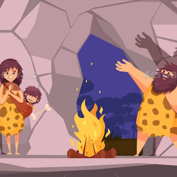 Caveman Family in Cave