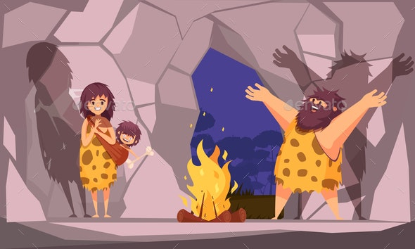 Caveman Family in Cave - People Characters