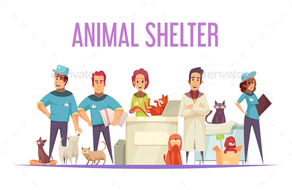 Animal Shelter Composition - Animals Characters