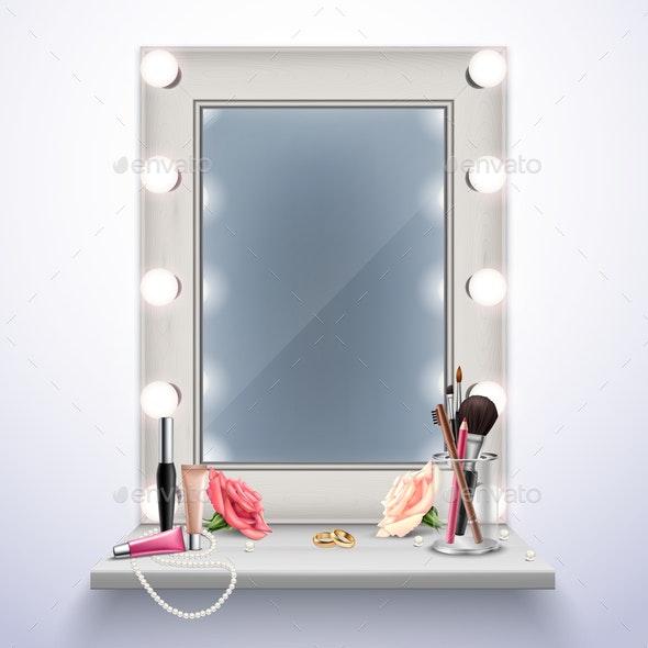 Makeup Mirror Realistic Composition - Miscellaneous Vectors