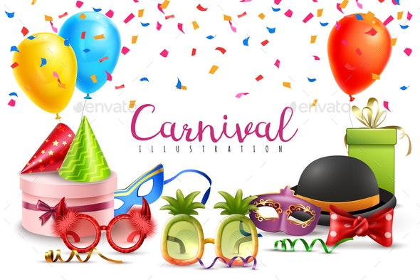 Carnival Party Accessories Poster - Backgrounds Decorative
