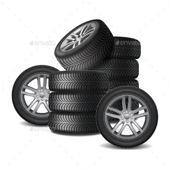 Car Wheels Realistic Design Concept - Miscellaneous Vectors
