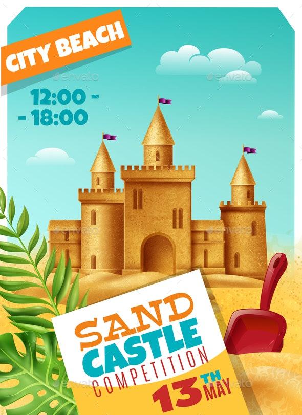 Sandy Castle Competition Realistic Poster - Miscellaneous Vectors