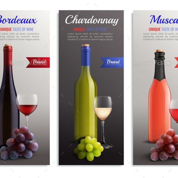 Wine Realistic Vertical Banners