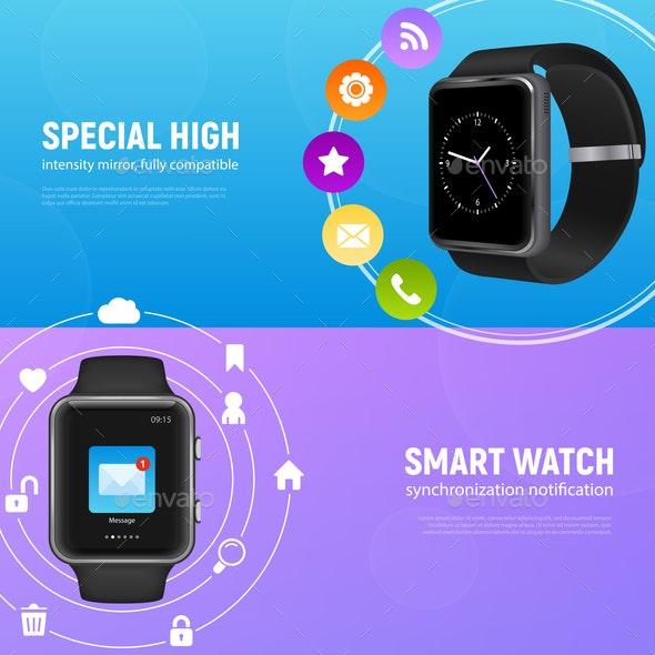 Realistic Smart Watch Banner Set - Sports/Activity Conceptual