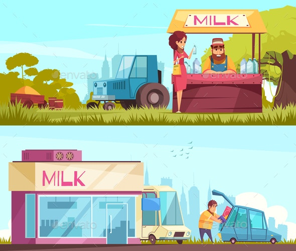 Milk Horizontal Banners Set - Food Objects