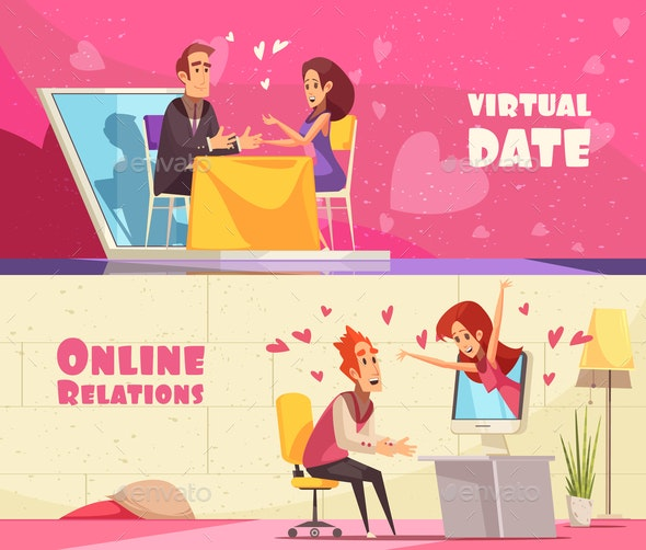 Virtual Date Horizontal Banners - People Characters